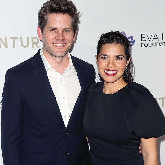 America Ferrera and Ryan Piers Williams posing at an event together