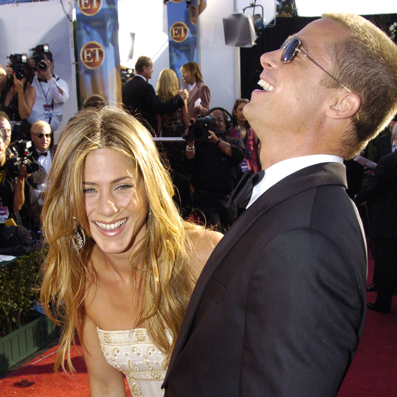 Jennifer Aniston and Brad Pitt share a laugh on the red carpet