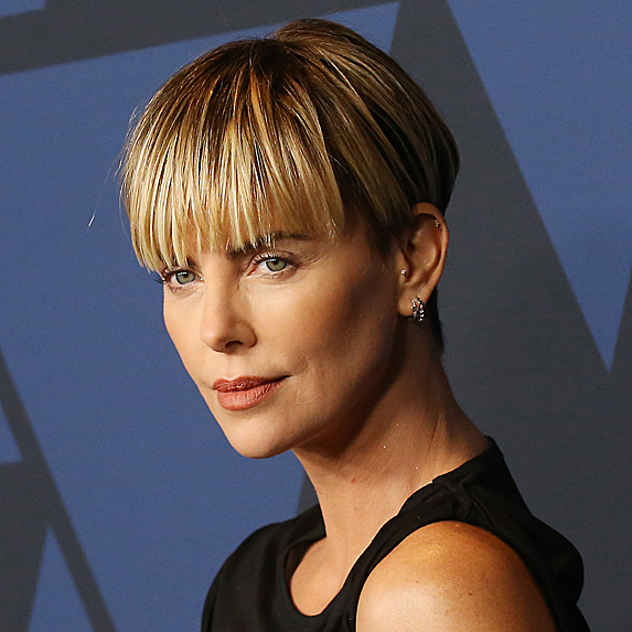 Charlize Theron sporting a bowl cut