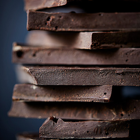 Stack of dark chocolate squares