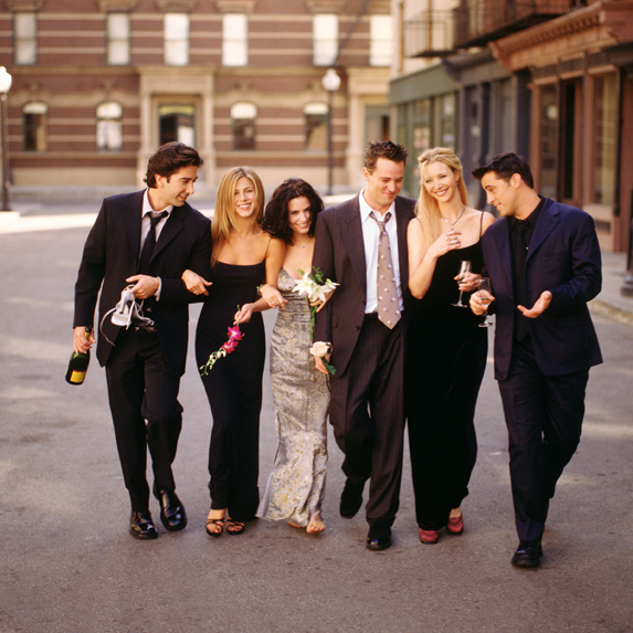 The cast of Friends in a mid-1990s promo shot