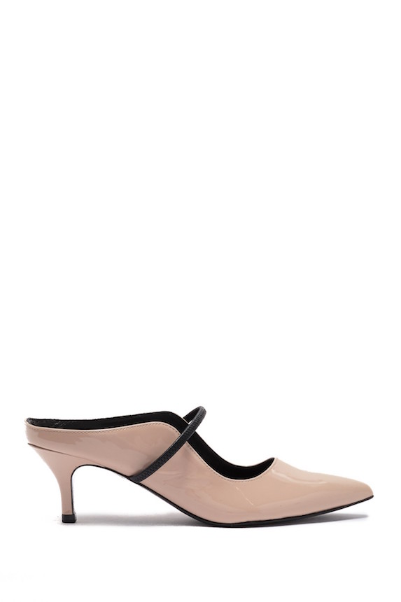Patent pink leather kitten heel pump