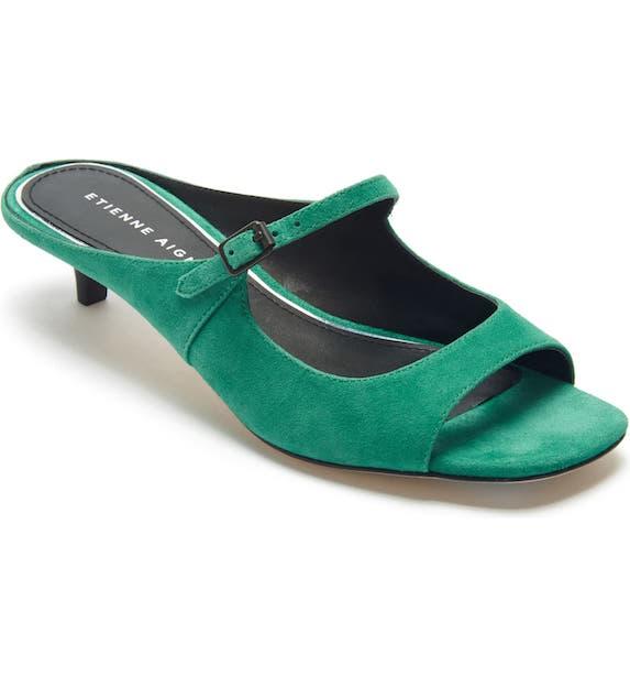 Green kitten heel sandals