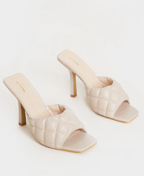 White quilted-effect faux leather kitten heel mule shoes
