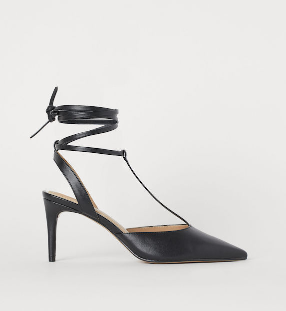 Black strappy kitten heel shoes