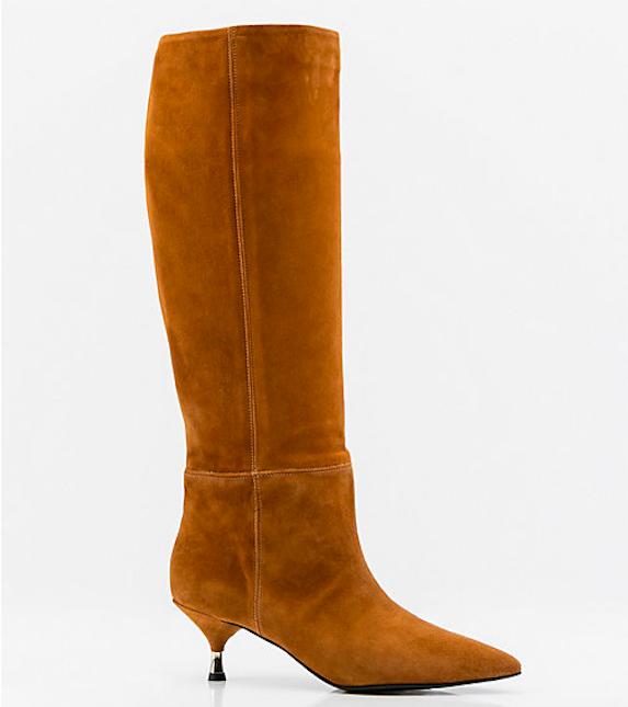 Tan suede knee-high kitten heel boots