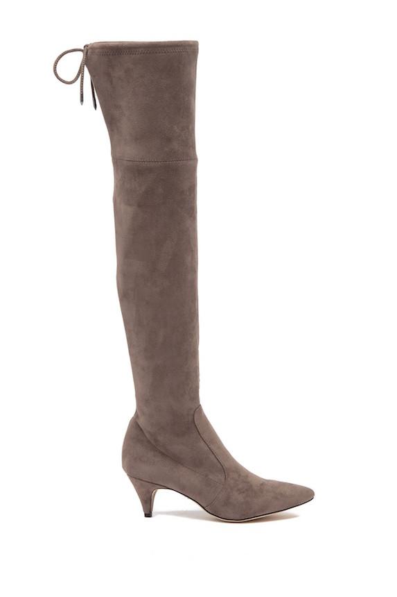 Thigh-high suede kitten heel boot