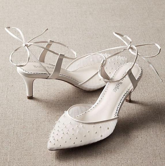 White kitten-heel shoes with mesh detail