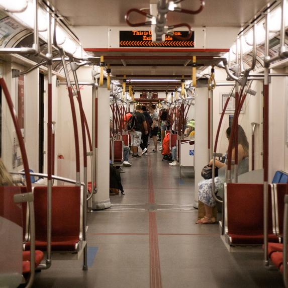 Inside TTC subway car