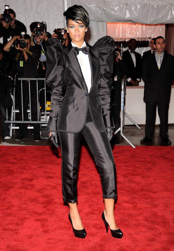 Rihanna wears a tuxedo-style suit to the 2009 MET Gala