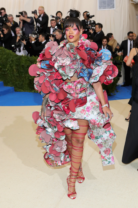 Rihanna in a floral-inspired ensemble for the MET Gala in 2017