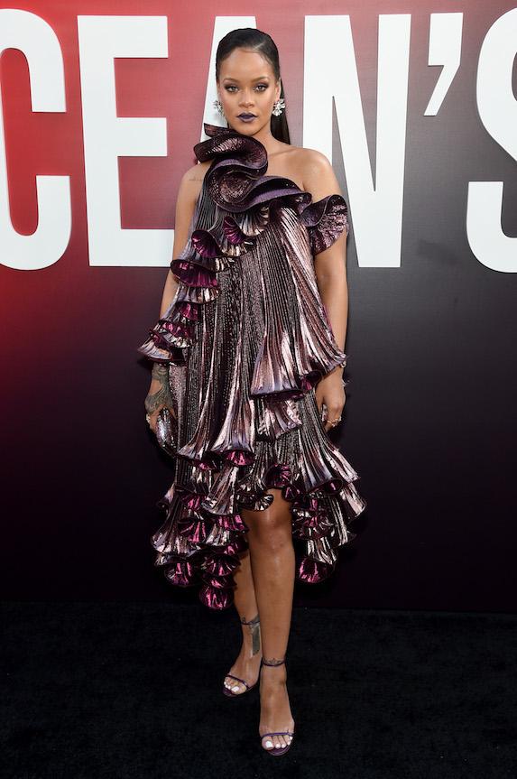 Rihanna wears a one-shoulder dress to a film's world premiere in 2018