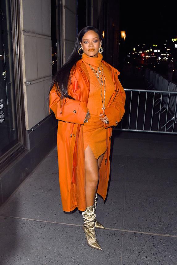 Rihanna wears an orange ensemble in 2020