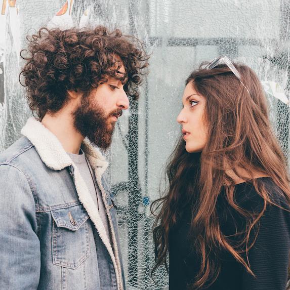 Couple having an unhappy conversation