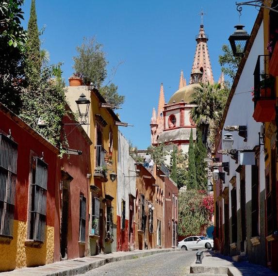 colourful Parroquia de San Miguel Arcángel, San Miguel de Allande, Mexico