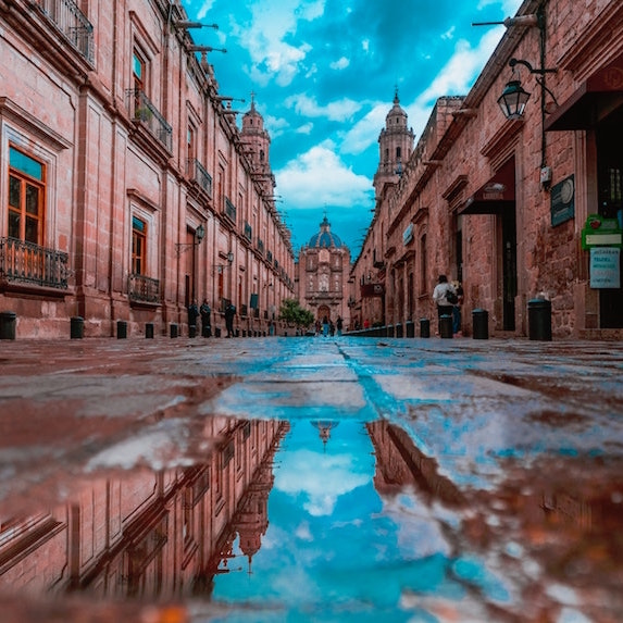 buildings after the rain in Morelia, Mexico