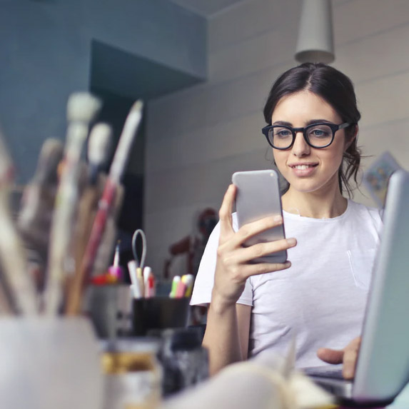 Woman working, exploring her creativity