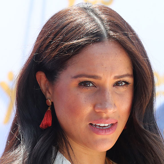 Meghan Markle with serious look on her face