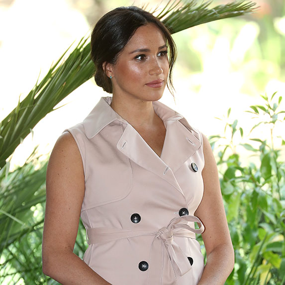 Meghan Markle with sad look on her face