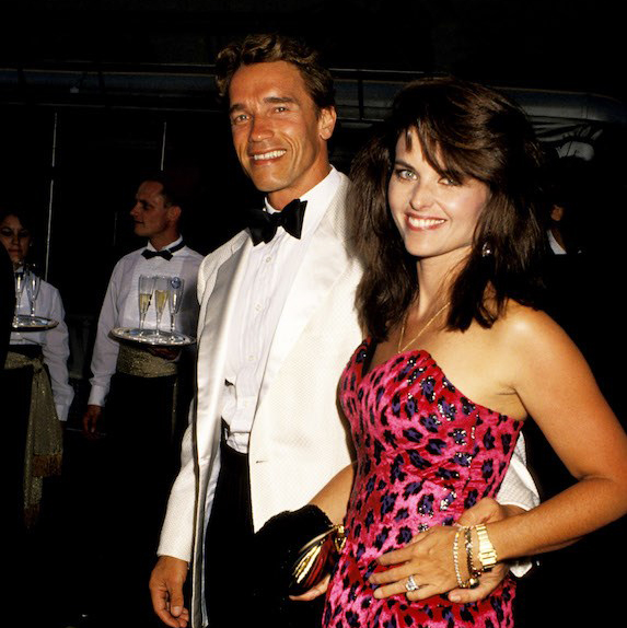 Arnold Schwarzenegger and Maria Shriver at an event in eveningwear