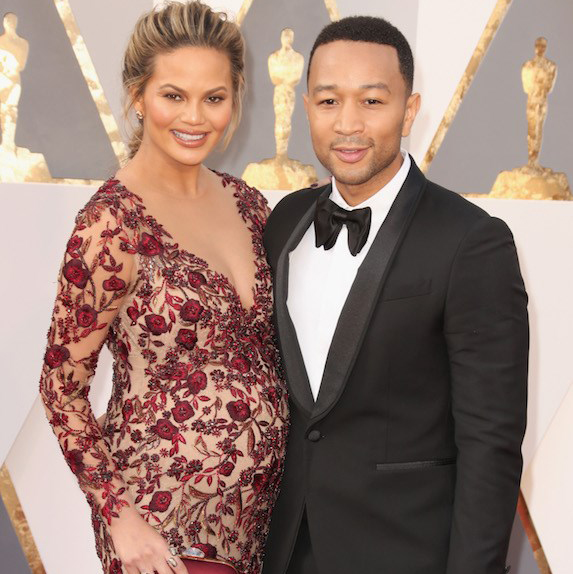 John Legend and pregnant Chrissy Teigen at the Academy Awards