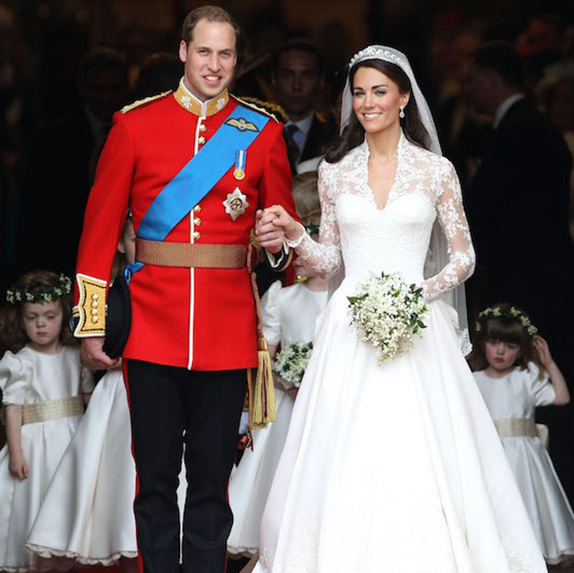 Prince William and Kate Middleton during their wedding recession