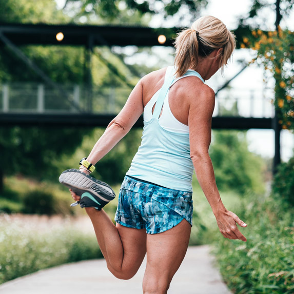 Woman stretching for a run