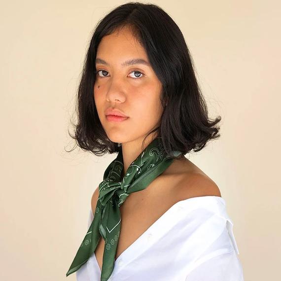 green silk neck scarf