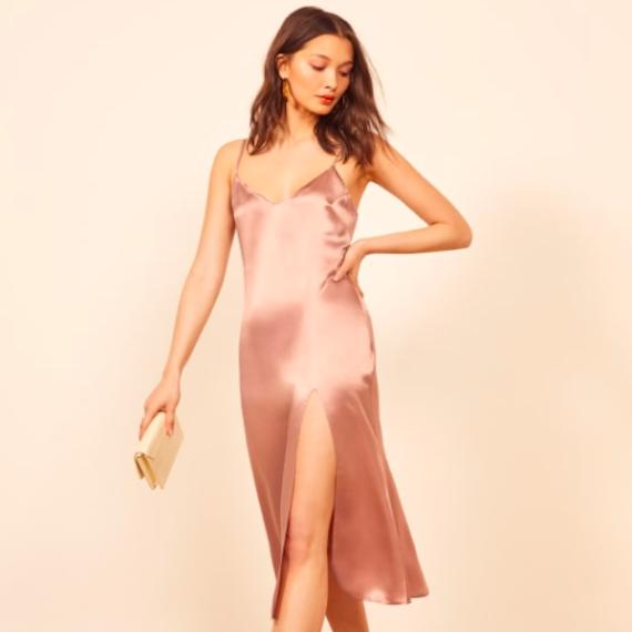 light pink silk dress