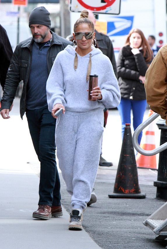 Jennifer Lopez wears an oversized grey sweatsuit