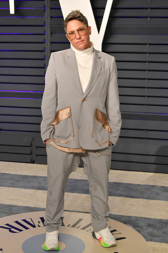 Jill Soloway wears an oversized grey suit