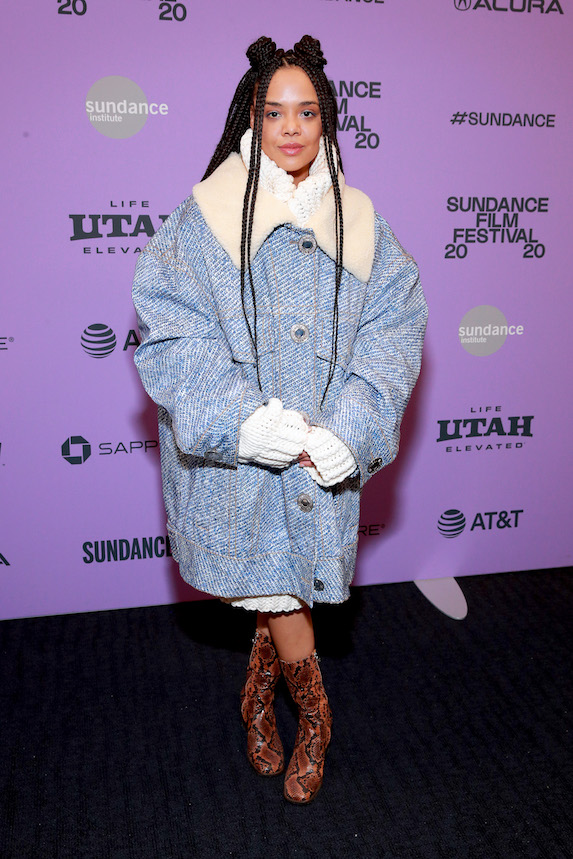 Tessa Thompson wears an oversized denim and shearling jacket