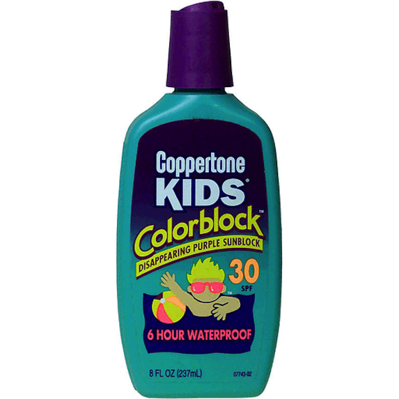 Coppertone kids colorblock sunscreen from the '90s