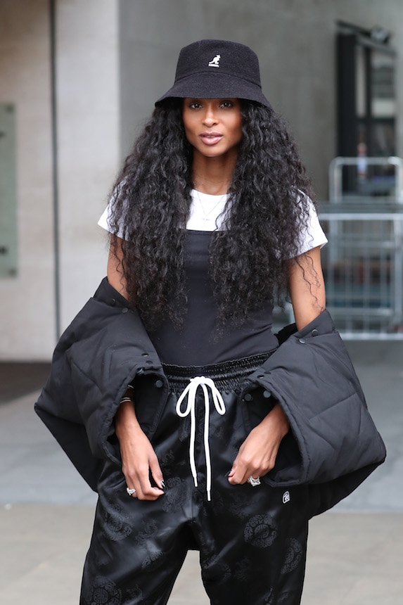 Ciara is photographed wearing a bucket hat
