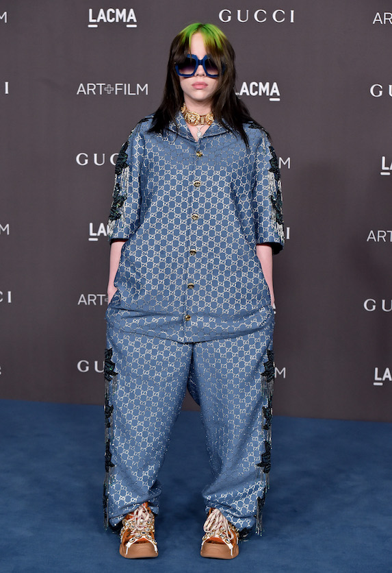 Billie Ellish wears a baggy top-and-pants set to an awards show
