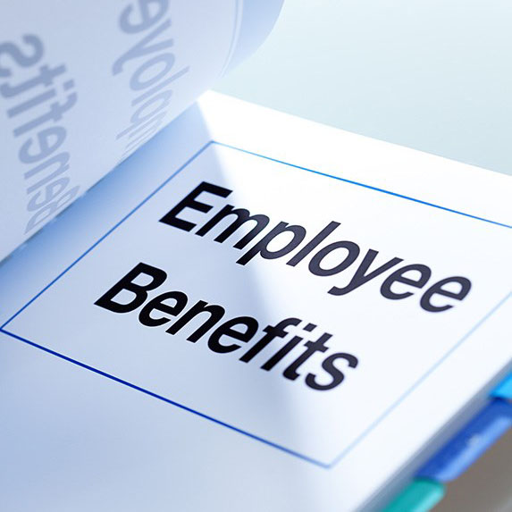 a booklet labeled Employee Benefits