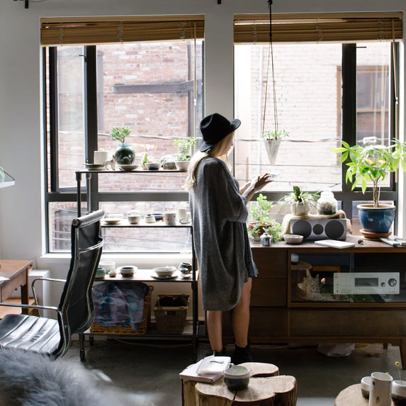 Woman alone in her happy home