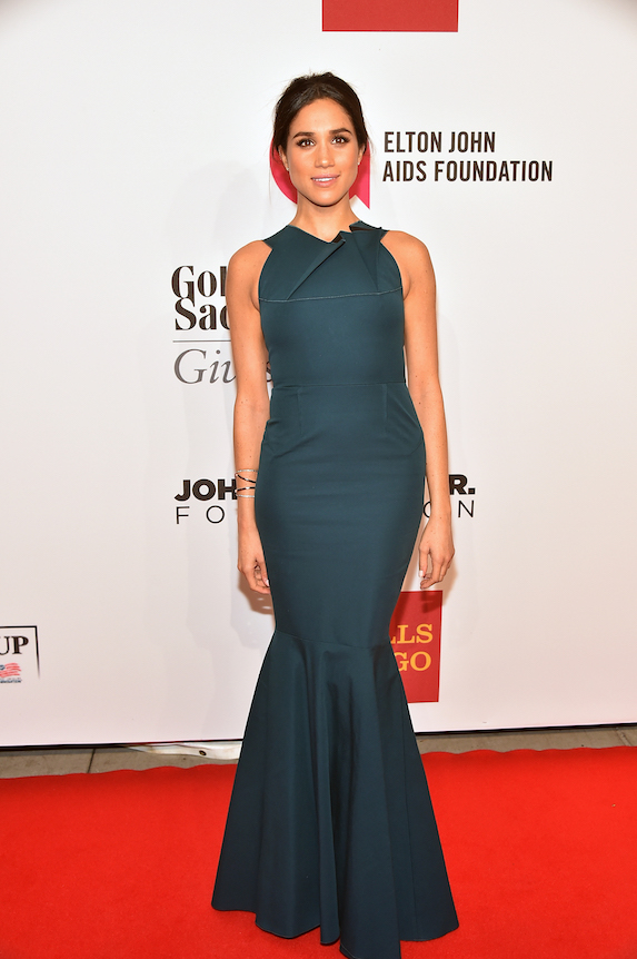 Meghan Markle wears a floor-length teal gown to an event in 2014