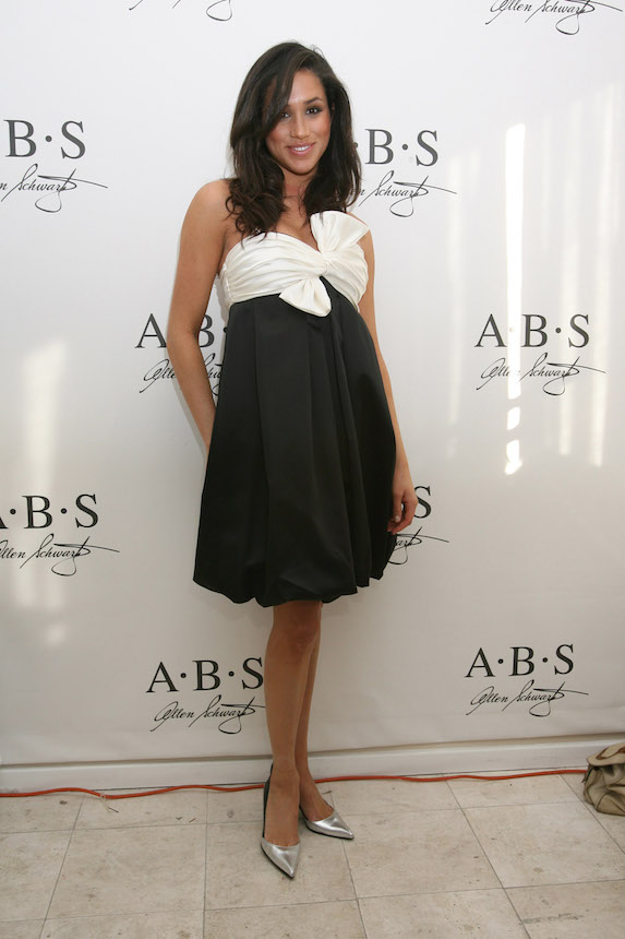 Meghan Markle wears a black and white strapless dress to an event in 2007