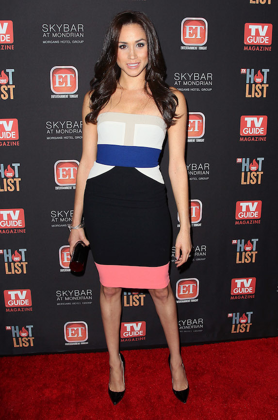 Meghan Markle wears a colour-block strapless dress to an event in 2012