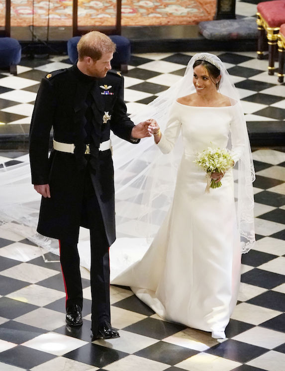 Meghan Markle and Prince Harry are photographed at Windsor Castle on their wedding day in 2018