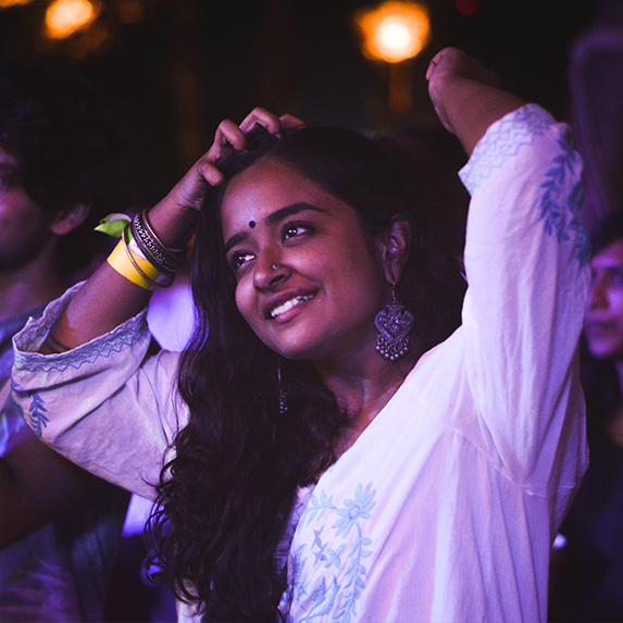 Happy woman at a music festival