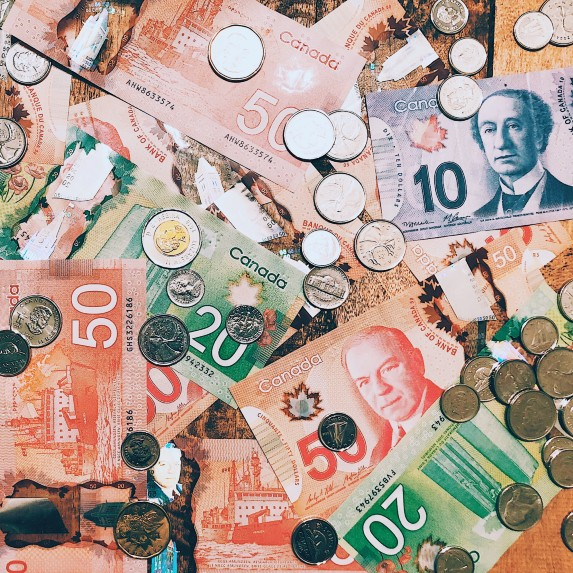 canadian currency bills and coins