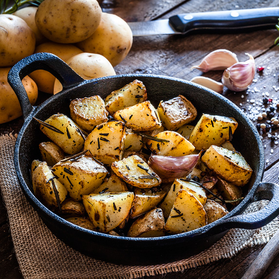 Dish of cooked potatoes