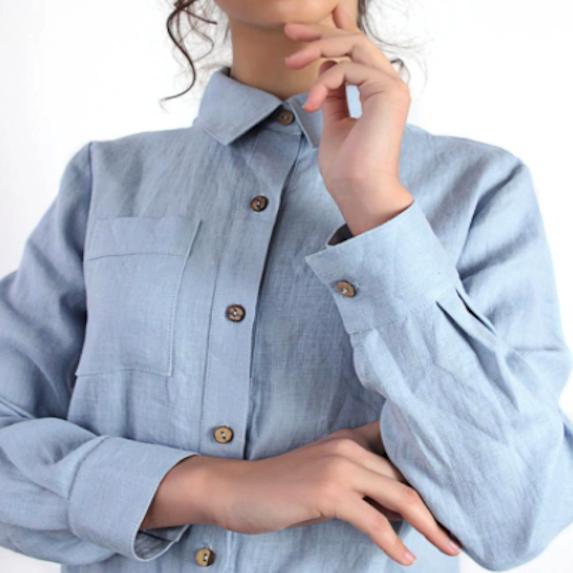 linen button down shirt blue