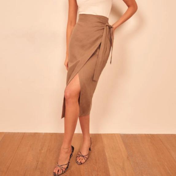 midi skirt linen taupe wrap