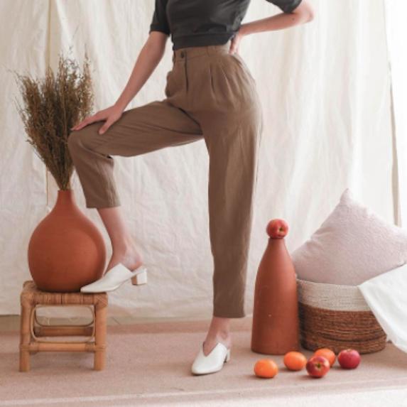 high waist linen trouser