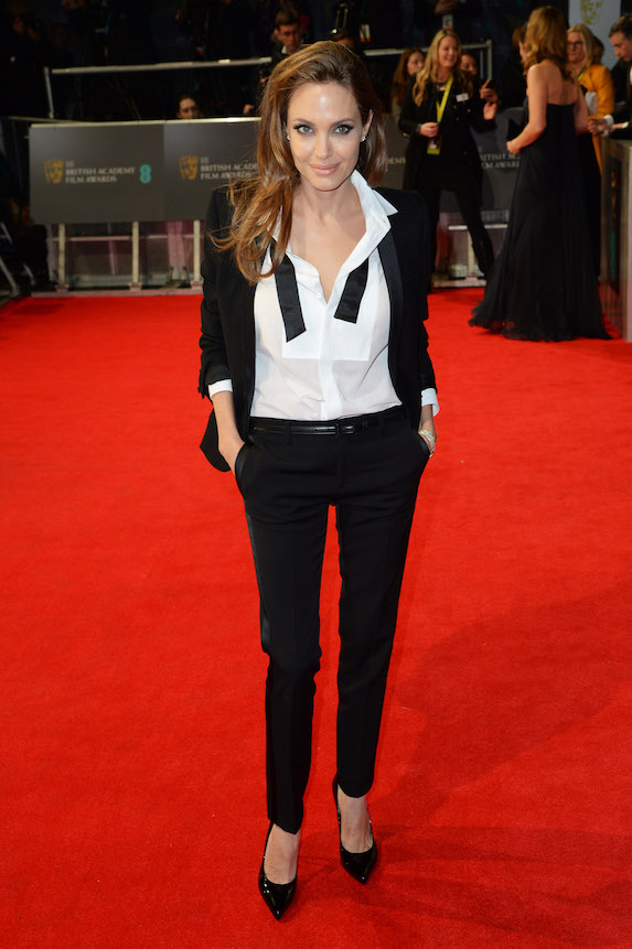 Angelina Jolie wears a tuxedo-style outfit to the British Film Awards in 2014