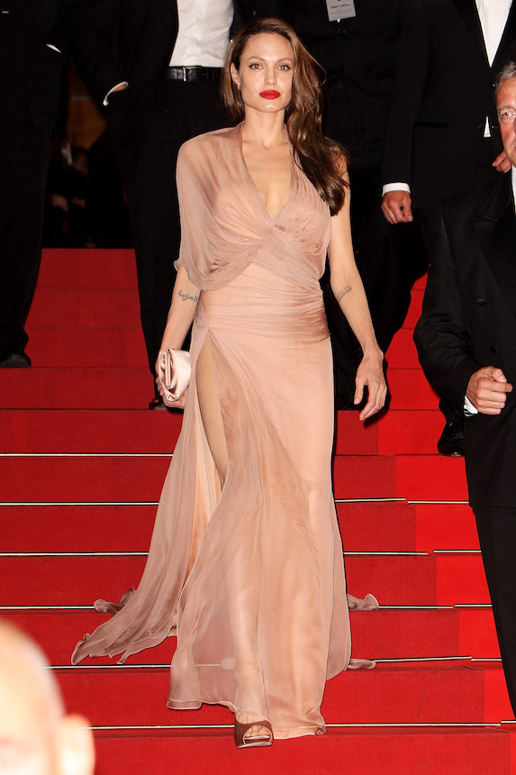 Angelina Jolie wears a blush-pink gown while in Cannes in 2009