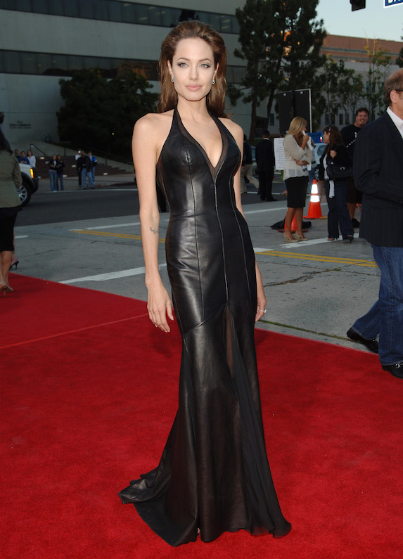 Angelina Jolie wears a leather gown to a film premiere in 2005